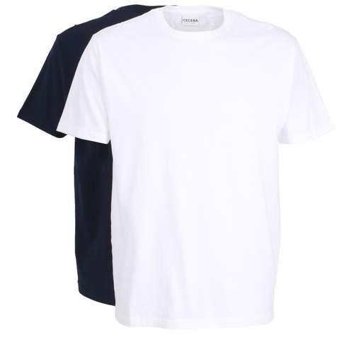 Bild von CECEBA Herren Unterhemd blau melange 2er Pack 180° Ansicht
