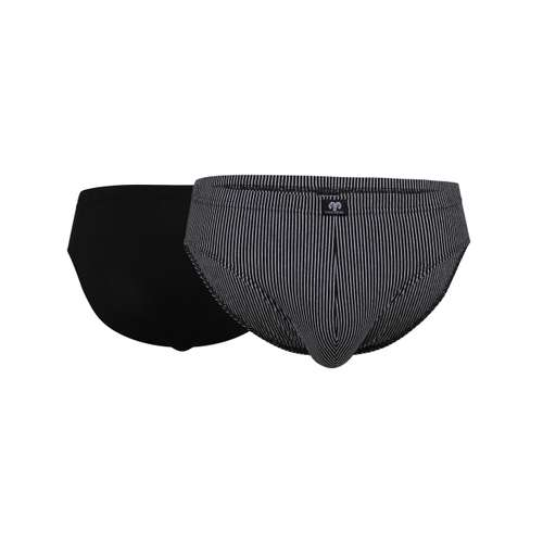 CECEBA Herren Slip schwarz längsgestreift 2er Pack im 0° Winkel