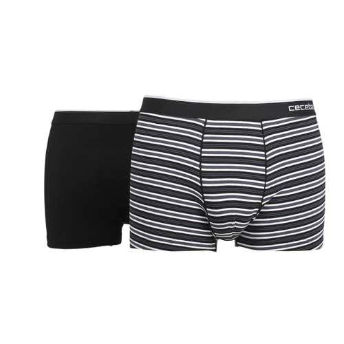 CECEBA Herren Pants schwarz quergestreift 2er Pack im 0° Winkel