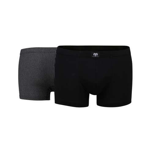 Bild von CECEBA Herren Pants schwarz längsgestreift 2er Pack 180° Ansicht