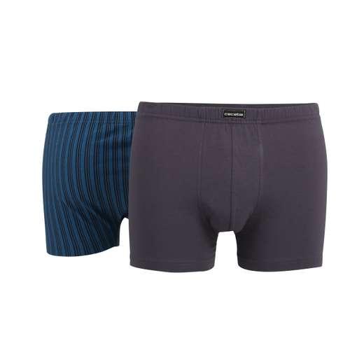 Bild von CECEBA Herren Pants blau längsgestreift 2er Pack 180° Ansicht