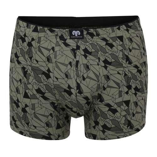CECEBA Herren Pants grün bedruckt 1er Pack im 0° Winkel