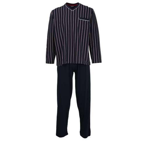 CECEBA Herren Pyjama blau längsgestreift 1er Pack im 0° Winkel