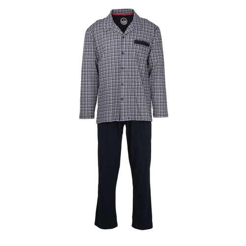 CECEBA Herren Pyjama blau kariert 1er Pack im 0° Winkel