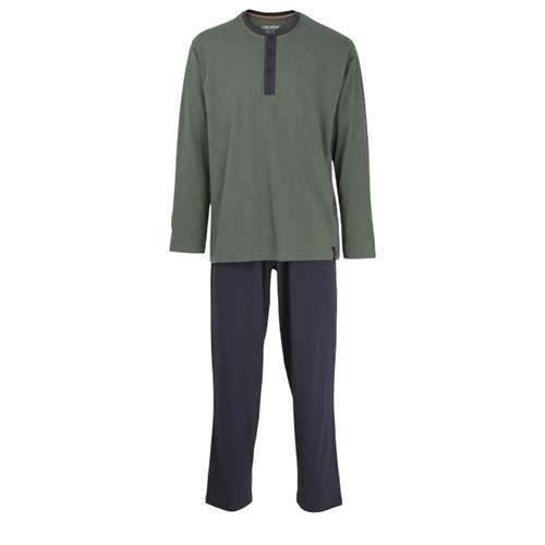 CECEBA Herren Pyjama grün melange 1er Pack im 0° Winkel