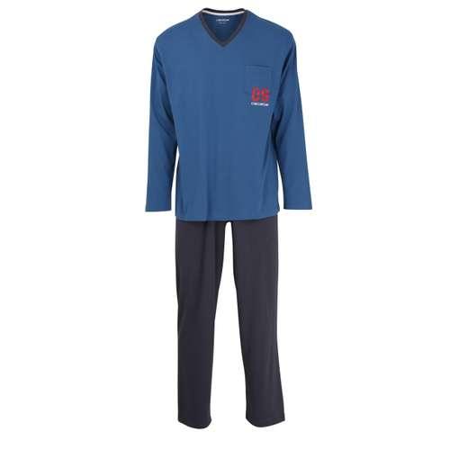CECEBA Herren Pyjama blau uni 1er Pack im 0° Winkel