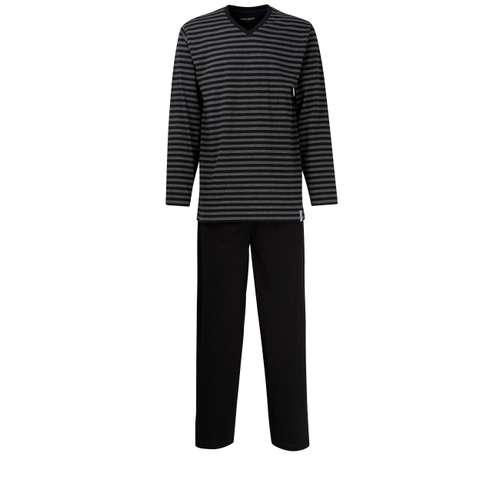 CECEBA Herren Pyjama schwarz quergestreift 1er Pack im 0° Winkel