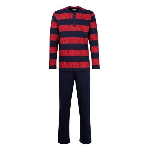CECEBA Herren Pyjama rot bedruckt 1er Pack im 0° Winkel