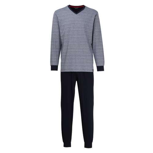 CECEBA Herren Pyjama blau quergestreift 1er Pack im 0° Winkel