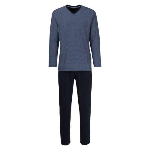 CECEBA Herren Pyjama blau bedruckt 1er Pack im 0° Winkel