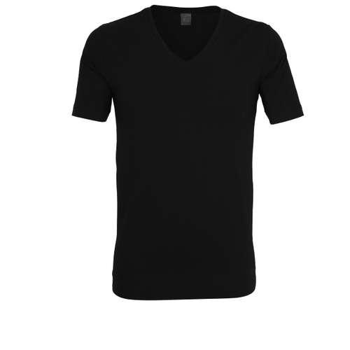 BUGATTI Herren T-Shirt schwarz uni 1er Pack im 0° Winkel