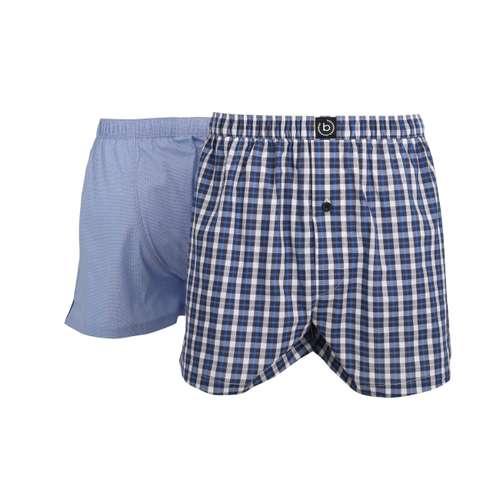 BUGATTI Herren Boxershort blau kariert 2er Pack im 0° Winkel
