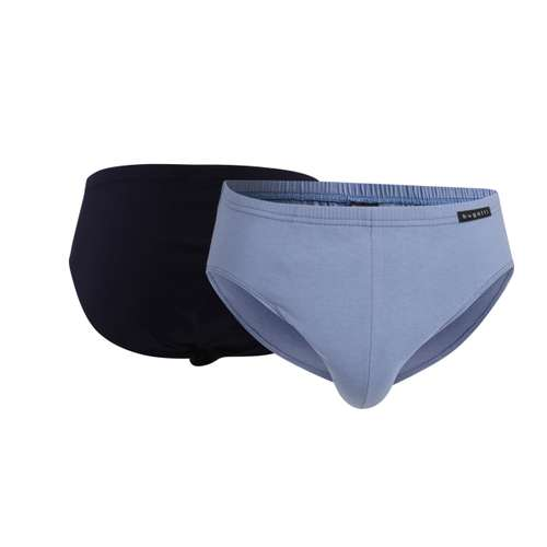 BUGATTI Herren Sport-Slip blau uni 2er Pack im 0° Winkel