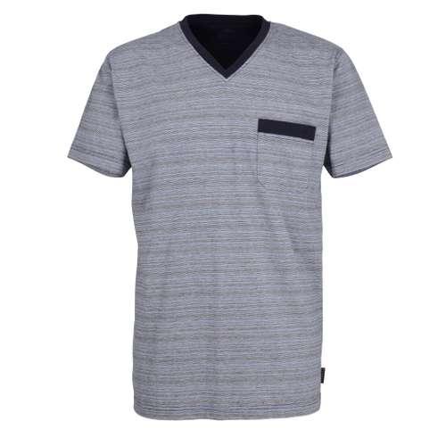 BUGATTI Herren T-Shirt blau melange 1er Pack im 0° Winkel