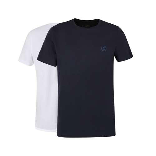 BUGATTI Herren T-Shirt blau uni 2er Pack im 0° Winkel
