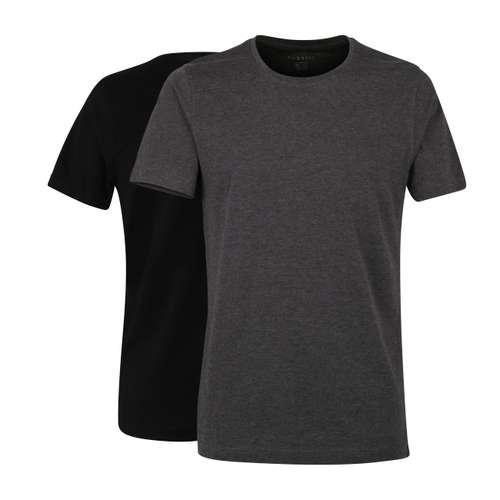 BUGATTI Herren T-Shirt grau uni 2er Pack im 0° Winkel