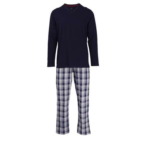 BUGATTI Herren Pyjama blau kariert 1er Pack im 0° Winkel