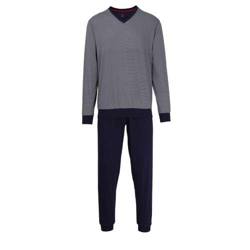 BUGATTI Herren Pyjama blau bedruckt 1er Pack im 0° Winkel