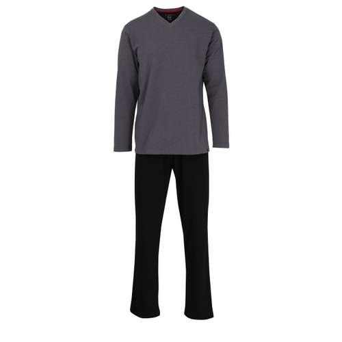 BUGATTI Herren Pyjama grau melange 1er Pack im 0° Winkel