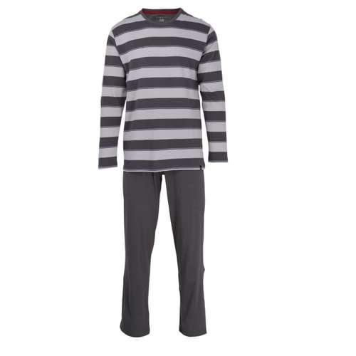 BUGATTI Herren Pyjama grau quergestreift 1er Pack im 0° Winkel