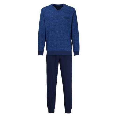 Götzburg Herren Pyjama Bedruckt Blau Langarm Baumwolle Single Jersey mit Bündchen Götzburg Herren Pyjama mit Bündchen