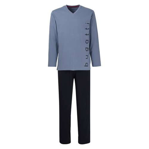 BUGATTI Herren Pyjama blau uni 1er Pack im 0° Winkel