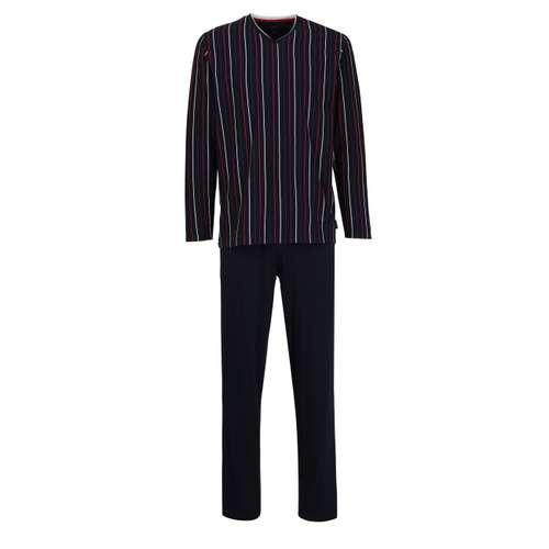 BUGATTI Herren Pyjama blau längsgestreift 1er Pack im 0° Winkel