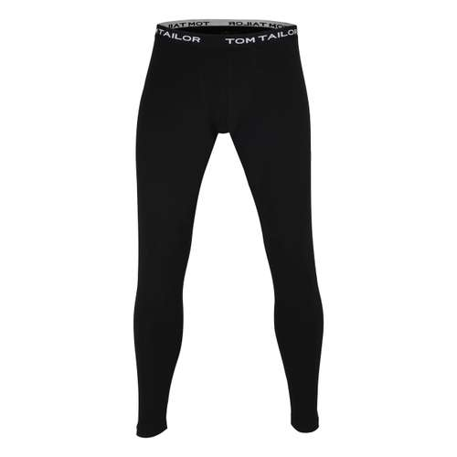 TOM TAILOR Herren lange Unterhose schwarz uni 1er Pack im 0° Winkel