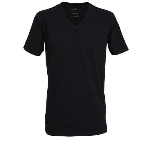 TOM TAILOR Herren T-Shirt schwarz uni 2er Pack im 0° Winkel
