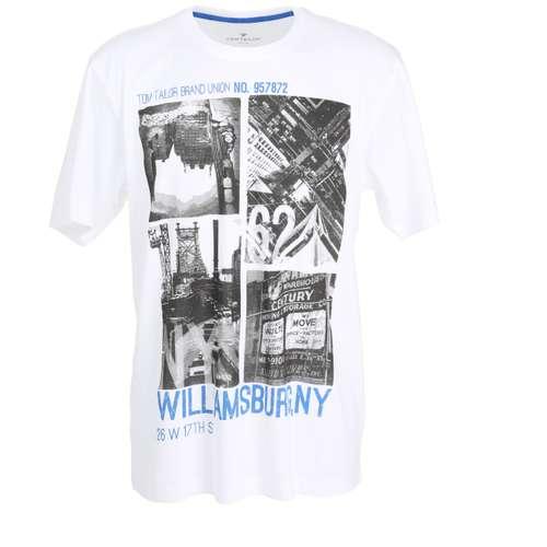 TOM TAILOR Herren T-Shirt weiß bedruckt 1er Pack im 0° Winkel