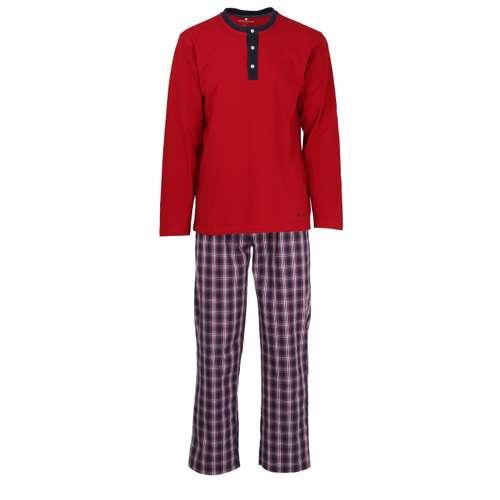 TOM TAILOR Herren Pyjama rot kariert 1er Pack im 0° Winkel