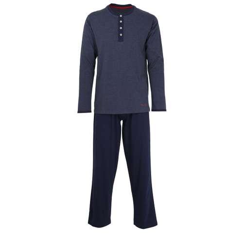 TOM TAILOR Herren Pyjama blau melange 1er Pack im 0° Winkel