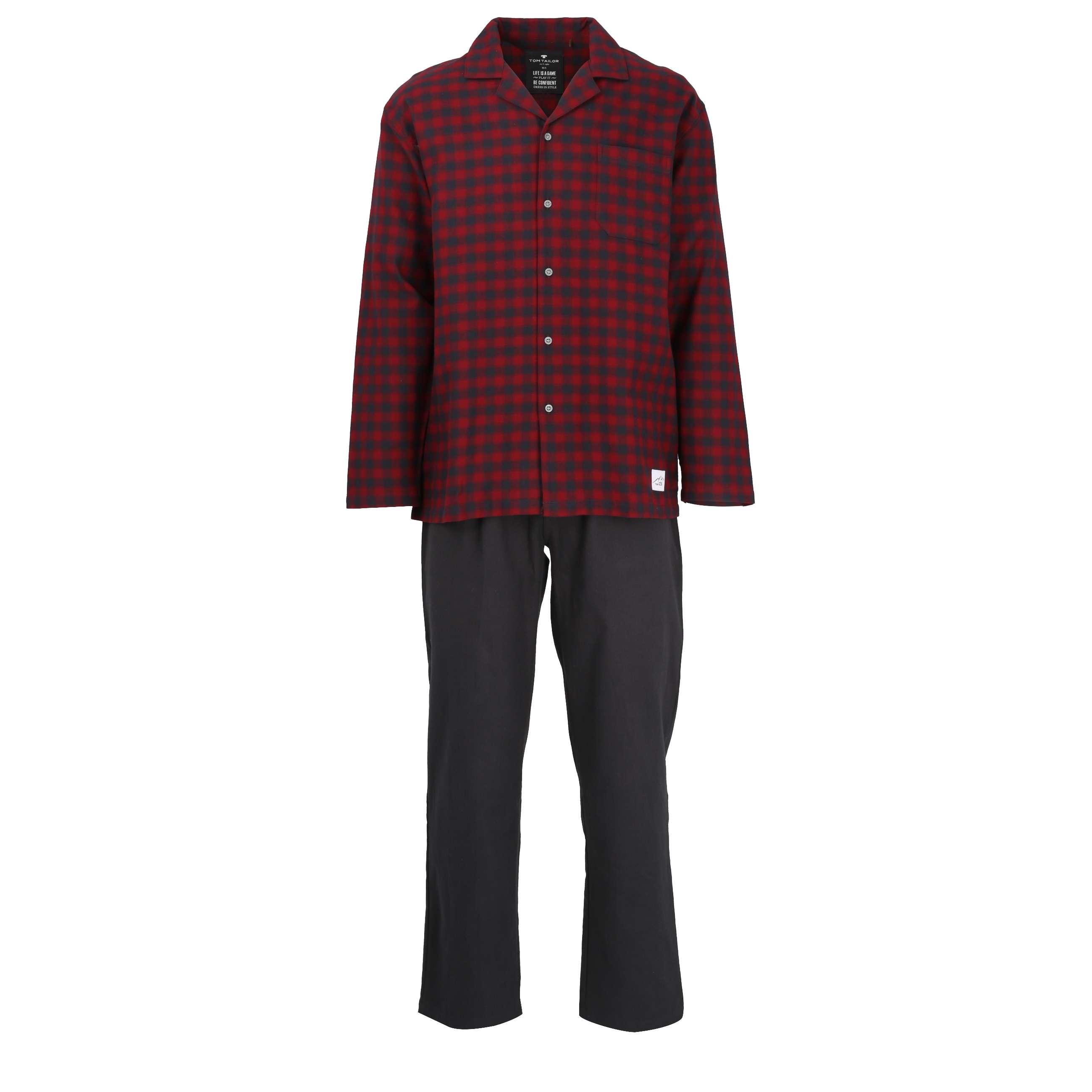 tom tailor herren pyjama schlafanzug rot kariert. Black Bedroom Furniture Sets. Home Design Ideas
