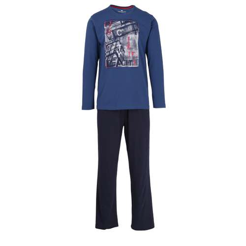 TOM TAILOR Herren Pyjama blau uni 1er Pack im 0° Winkel
