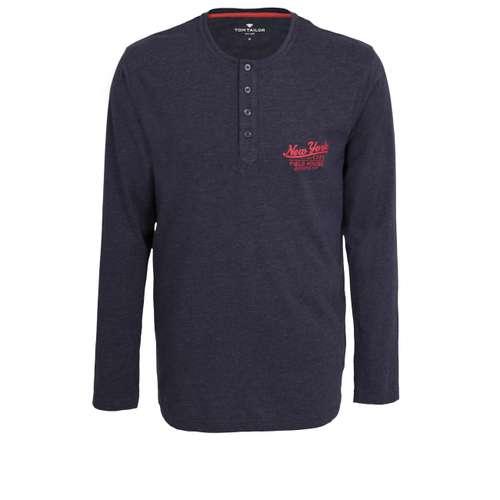 TOM TAILOR Herren Shirt blau melange 1er Pack im 0° Winkel