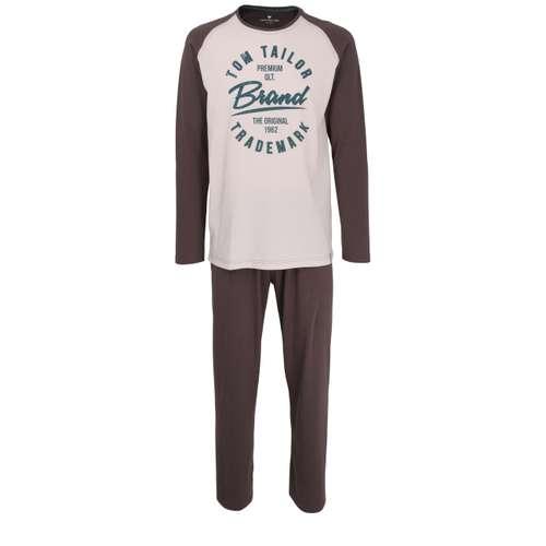 TOM TAILOR Herren Pyjama grau melange 1er Pack im 0° Winkel