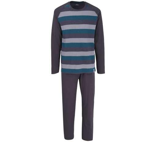 TOM TAILOR Herren Pyjama grau quergestreift 1er Pack im 0° Winkel