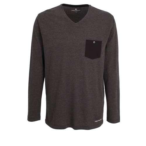 TOM TAILOR Herren Shirt schwarz melange 1er Pack im 0° Winkel