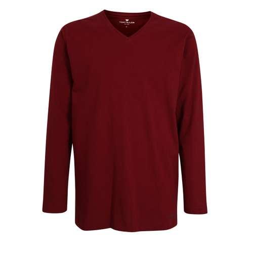 TOM TAILOR Herren T-Shirt rot uni 1er Pack im 0° Winkel