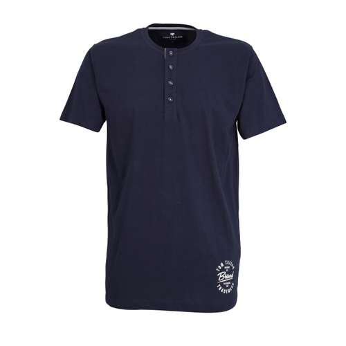 TOM TAILOR Herren T-Shirt blau uni 1er Pack im 0° Winkel