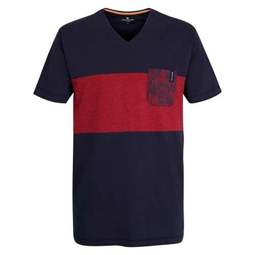 TOM TAILOR Herren Shirt rot mehrfarbig 1er Pack im 0° Winkel
