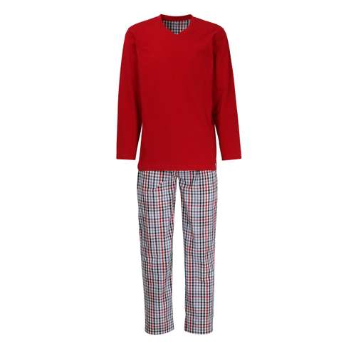 TOM TAILOR Herren Pyjama blau kariert 1er Pack im 0° Winkel