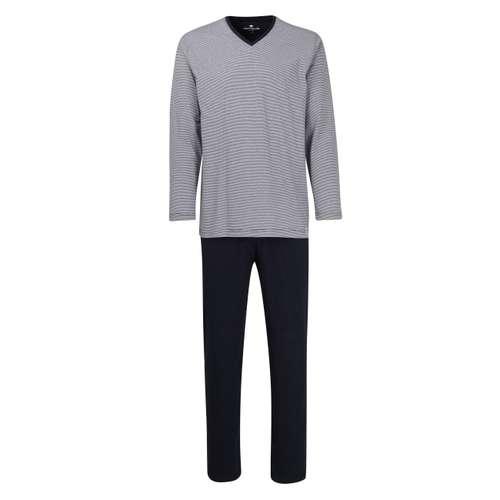 TOM TAILOR Herren Pyjama blau quergestreift 1er Pack im 0° Winkel