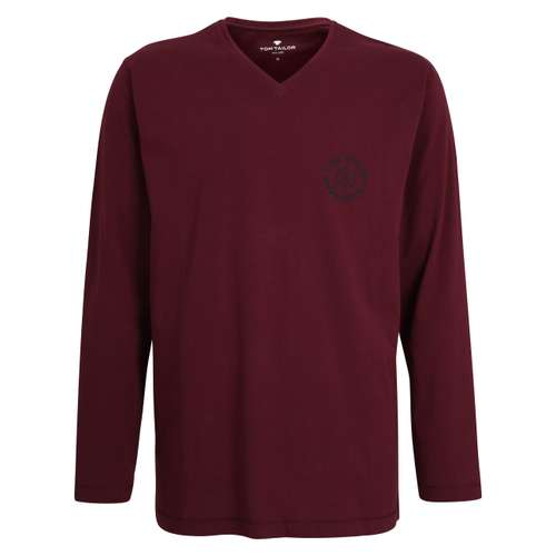 TOM TAILOR Herren Shirt rot uni 1er Pack im 0° Winkel