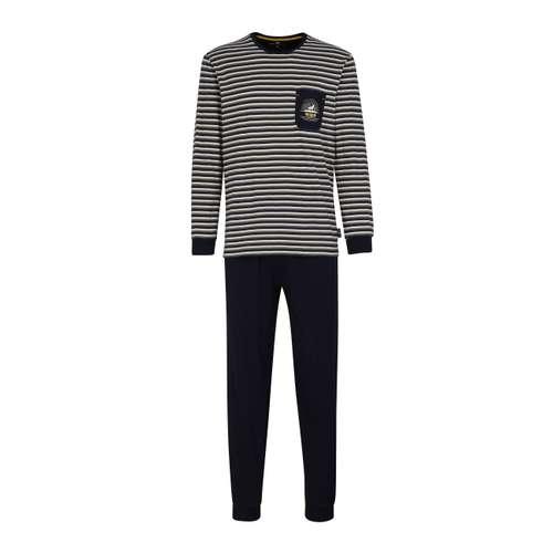 TOM TAILOR Herren Pyjama blau bedruckt 1er Pack im 0° Winkel