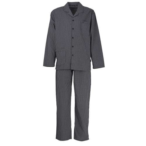 GÖTZBURG Herren Pyjama schwarz kariert 1er Pack im 0° Winkel