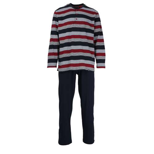 GÖTZBURG Herren Pyjama rot längsgestreift 1er Pack im 0° Winkel