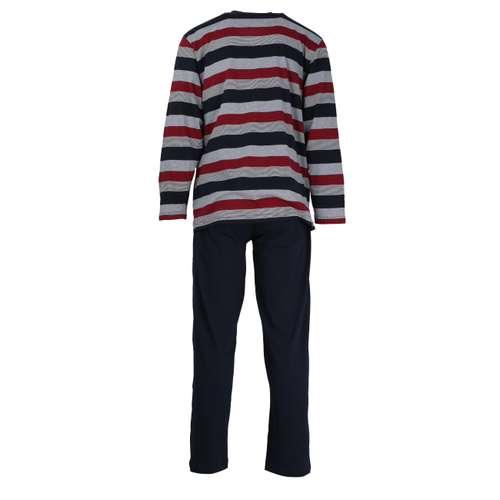 Bild von GÖTZBURG Herren Pyjama rot quergestreift 1er Pack 180° Ansicht