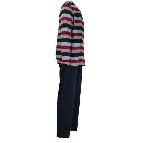 Bild von GÖTZBURG Herren Pyjama rot quergestreift 1er Pack 290° Ansicht