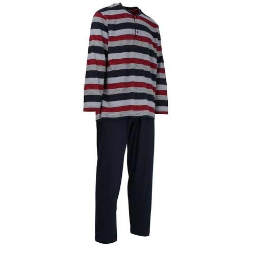 Bild von GÖTZBURG Herren Pyjama rot quergestreift 1er Pack 330° Ansicht